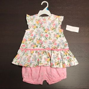Baby top shirt and shorts matching set floral 24M